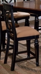 Northern Wood 24'' Counter Height Stool with Deep Gold Fabric Seat - Set of 2 - Black Honey [4439-822W-FS-HILL]