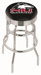 Northern Illinois University 25'' Chrome Finish Double Ring Swivel Backless Counter Height Stool with Ribbed Accent Ring [L7C3C25NORILL-FS-HOB]