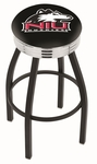 Northern Illinois University 25'' Black Wrinkle Finish Swivel Backless Counter Height Stool with Ribbed Accent Ring [L8B3C25NORILL-FS-HOB]