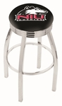 Northern Illinois University 25'' Chrome Finish Swivel Backless Counter Height Stool with 2.5'' Ribbed Accent Ring [L8C3C25NORILL-FS-HOB]