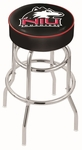 Northern Illinois University 25'' Chrome Finish Double Ring Swivel Backless Counter Height Stool with 4'' Thick Seat [L7C125NORILL-FS-HOB]