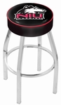 Northern Illinois University 25'' Chrome Finish Swivel Backless Counter Height Stool with 4'' Thick Seat [L8C125NORILL-FS-HOB]