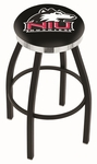 Northern Illinois University 25'' Black Wrinkle Finish Swivel Backless Counter Height Stool with Chrome Accent Ring [L8B2C25NORILL-FS-HOB]