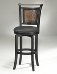 Norwood Wood 26.5'' Counter Height Stool with Black Vinyl Swivel Seat - Black and Copper [4935-826S-FS-HILL]