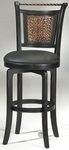 Norwood Wood 30.5'' Bar Height Stool with Black Vinyl Swivel Seat - Black and Copper [4935-830S-FS-HILL]