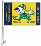 Notre Dame Car Flag with Wall Brackett - Mascot Design [97136-FS-BSI]