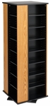 4-Sided Spinning Tower with 28 Adjustable Shelves - Oak & Black [OMS-0800-K-FS-PP]