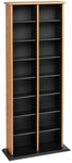 Double Multimedia Storage Tower with 14 Adjustable Shelves - Oak & Black [OMA-0320-FS-PP]