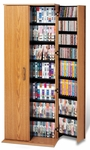 Grande Locking Media Storage Cabinet with Brass Colored Door Handles - Oak & Black [OVS-0287-K-FS-PP]