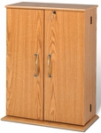 Locking Media Storage Cabinet with Brass Colored Door Handles- Oak [OVS-0136-FS-PP]