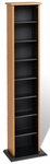 Slim Multimedia Storage Tower with 7 Adjustable Shelves - Oak & Black [OMA-0160-FS-PP]
