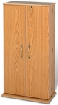 Tall Locking Media Storage Cabinet with Brass Colored Door Handles - Oak [OVS-0205-FS-PP]