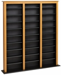 Triple Width Barrister Tower with 27 Adjustable Shelves - Oak & Black [OMB-1200-K-FS-PP]