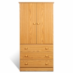 Edenvale 3 Drawer 60''H Wardrobe with Matching Plastic Knobs - Oak [JOD-3060-K-FS-PP]
