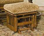 Oak Wood Mission Ottoman with Slatted Side Panel - Dark Oak Finish [1903-FS-BFM]