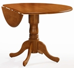 Solid Wood 30'' Diameter Round Pedestal Dining Table With 9'' Dual Drop Leaves - Oak [T04-42DP-FS-WHT]