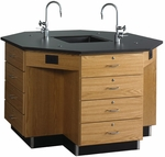 Octagonal Science Wooden Workstation with 1'' Thick Black Epoxy Resin Top and 16 Locking Drawers - 62''W x 62''D x 36''H [1646K-DW]