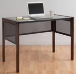 Office Line II Main Clear Tempered Glass Top and Wood 42'' W x 24''D x 30''H Desk -Sonoma Brown [56001-FS-SDI]