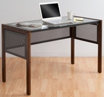 Office Line II Main Clear Tempered Glass and Wood 48''W x 24''D x 30''H Desk - Sonoma Brown [56000-FS-SDI]
