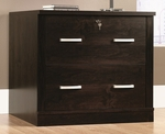 Office Port 33''W x 29''H Wooden 2 Drawer Locking File Cabinet - Dark Adler [408293-FS-SRTA]
