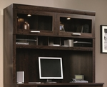 Office Port 59''W x 47''H Wooden Desk Hutch with Upper Display Case Lighting - Dark Adler [408292-FS-SRTA]