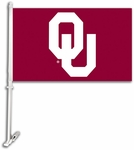 Oklahoma Sooners Car Flag with Wall Brackett - Logo Design [97119-FS-BSI]