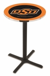 Oklahoma State University 36''H Black Wrinkle Finish Counter Height Pub Table with X-Base [L211B36OKSTUN-FS-HOB]