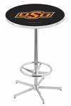 Oklahoma State University 42''H Chrome Finish Bar Height Pub Table with Foot Ring [L216C42OKSTUN-FS-HOB]