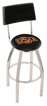 Oklahoma State University 25'' Chrome Finish Swivel Counter Height Stool with Cushioned Back [L8C425OKSTUN-FS-HOB]