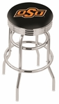Oklahoma State University 25'' Chrome Finish Double Ring Swivel Backless Counter Height Stool with Ribbed Accent Ring [L7C3C25OKSTUN-FS-HOB]