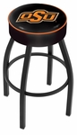 Oklahoma State University 25'' Black Wrinkle Finish Swivel Backless Counter Height Stool with 4'' Thick Seat [L8B125OKSTUN-FS-HOB]