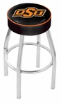 Oklahoma State University 25'' Chrome Finish Swivel Backless Counter Height Stool with 4'' Thick Seat [L8C125OKSTUN-FS-HOB]