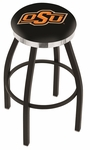 Oklahoma State University 25'' Black Wrinkle Finish Swivel Backless Counter Height Stool with Chrome Accent Ring [L8B2C25OKSTUN-FS-HOB]
