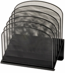 Onyx™ 11.25'' W x 7.25'' D x 12'' H Five Tiered Sections Mesh Desk Organizer - Black [3257BL-FS-SAF]