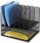 Onyx™ Two Horizontal and Six Upright Sections Mesh Desk Organizer - Black [3255BL-FS-SAF]