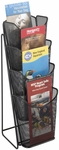 Onyx™ 5.25'' W x 7'' D x 16.5'' H Mesh Four Pocket Pamphlet Display - Black [5641BL-FS-SAF]