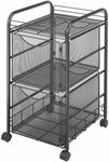 Onyx™ 15.75'' W x 17'' D x 27'' H Mesh File Cart with Two File Drawers - Black [5212BL-FS-SAF]
