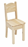 American Made Solid Pine Child's Traditional Open Back Chair - Unfinished [024-UNF-FS-LC]