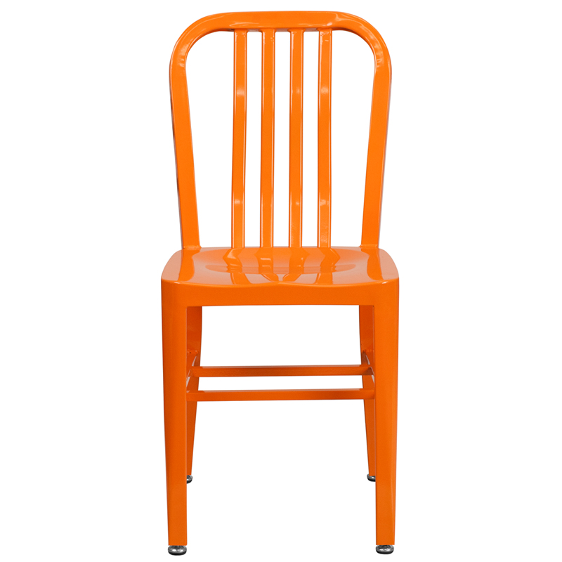 Orange Metal Indoor Outdoor Chair CH 18 OR GG by Flash Furniture