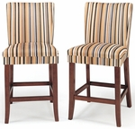 Orange Stripe Polyester Cherry Parson Barstool-Set Of 2 [721F7-24-2PC-FS-HOM]