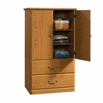Orchard Hills Wooden 21''W x 55''H Armoire with 2 Adjustable Shelves - Carolina Oak [401292-FS-SRTA]