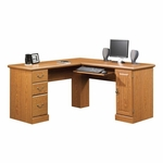 Orchard Hills 84''W x 30''H Wooden Corner Computer Desk with Sliding Keyboard Drawer - Carolina Oak [401929-FS-SRTA]