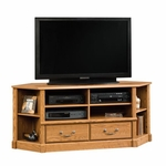 Orchard Hills 60''W x 25''H Wooden Corner Entertainment Center with Corner Display Shelves - Carolina Oak [403818-FS-SRTA]