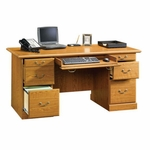 Orchard Hills 64''W x 30''H Wooden Executive Desk with 2 File Drawers - Carolina Oak [401822-FS-SRTA]