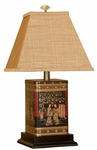 Oriental Tin Canister 21''H Lamp with Mystic Autumn Fabric Shade - Black and Red [10T218-FS-PAS]