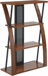 OSP Designs Aurora Bookcase with Three Storage Shelves and Powdercoated Black Accents - Medium Oak [AR27-FS-OS]