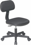 OSP Designs Armless Computer Task Chair with Seat Height Adjustment and Casters - Black [499-3-FS-OS]