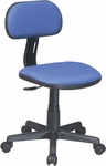 OSP Designs Armless Computer Task Chair with Seat Height Adjustment and Casters - Blue [499-7-FS-OS]