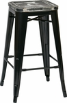 OSP Designs Bristow 26'' Metal Barstool with Wood Seat - Set of 2 - Antique Black and Vintage Ash Yellow Stone [BRW31263A2-C306-FS-OS]