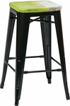 OSP Designs Bristow 26'' Metal Barstool with Wood Seat - 2-Pack - Antique Black and Vintage Pine Alice [BRW31263A2-C307-FS-OS]